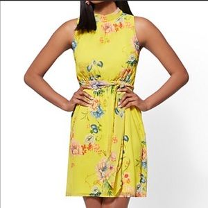 New York and Company Yellow Floral Dress